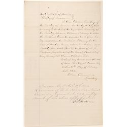 Orion Clemens Signed Document for Payment to Ormsby County Sheriff.  105765