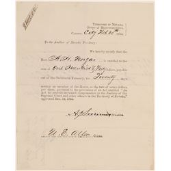 Warrant to pay Representative Unger for his service in the Last Session of the Territorial Governmen