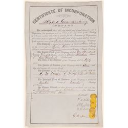 Keokuk Gold & Silver Mining Company Certificate of Incorporation from the Territory of Nevada  10577