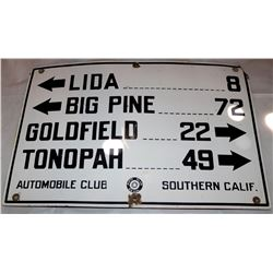 """Automobile Club of Southern California  Large Enamel Sign from """"Unnamed"""" Nevada Road.  Lida, Big Pin"""