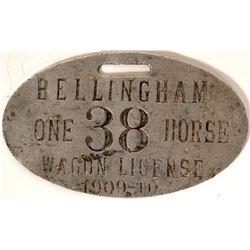 Rare 1909 Wagon Licence - Bellingham, Washington  105838
