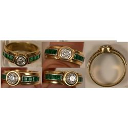 Jewelry / Diamond, Emerald & Gold Ring.  102103