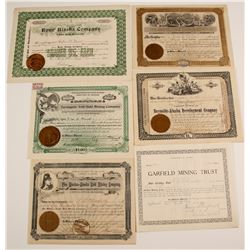 Six Alaska 1897-1909 Mining Stock Certificates  80564