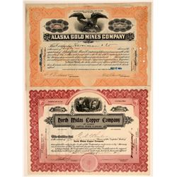 Two Different Alaska Mining Stock Certificates  106721