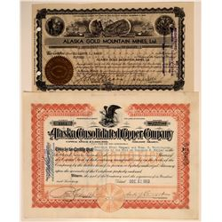 Two Different Alaska Mining Stock Certificates  106723