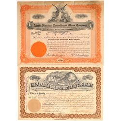 Two Different Alaska Mining Stock Certificates  106916