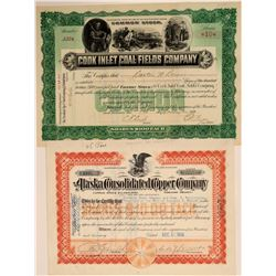 Two Different Alaska Mining Stock Certificates  106917