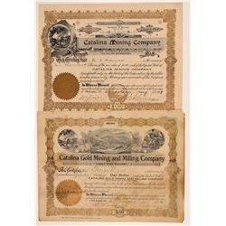 Two Different Catalina Mining Stock Certificates  106796