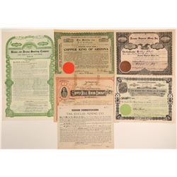 Six Different Cochise County Mining Stock Certificates  106798