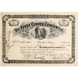 Val Verdi Copper Company Ltd. Stock Certificate  62963