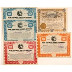 New Dominion Copper Mining Stock Certificate Collection  106813