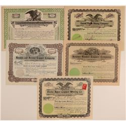 Five Different Jerome Mining Stock Certificates  106807