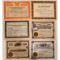 Six Different Kingman, Arizona Mining Stock Certificates  107474