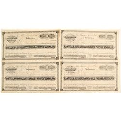 Hastings Consolidated Gold & Silver Mining Company Stock Certificates (4 count)  62969