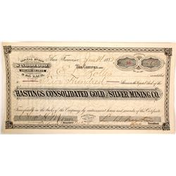 Hastings Consolidated Gold & Silver MIning Company Stock Certificate  59480