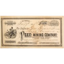 Extra Rare Peer Mining Company Stock Certificate  59474