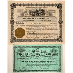 Tip Top Gold Mining Company Stock Certificate Pair  107585