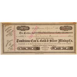 Tombstone Consolidated Gold & Silver Mining Co. Stock Certificate #1  106922