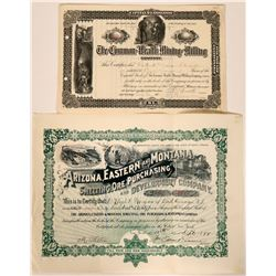Three Different Tombstone, Arizona Mining Stock Certificates  107595