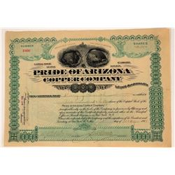 Pride of Arizona Copper Company Stock Certificate  107563
