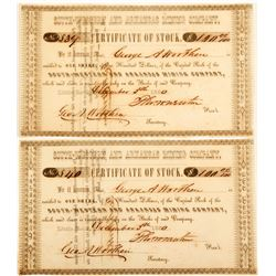 South-Western and Arkansas Mining Company Stock Certificates  60263