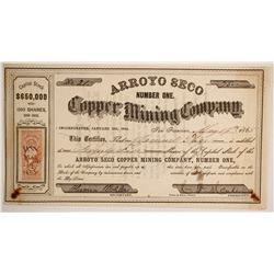1864/65 Arroyo Seco Number One Copper Mining Company Stock Certificate  89370