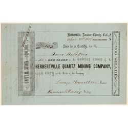 Herbertville Quartz Mining Company Stock Certificate  106847