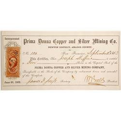 Prima Donna Copper and Silver Mining Company Stock  90482