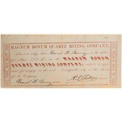 Magnum Bonum Quartz Mining Co. Stock Certificate  102170