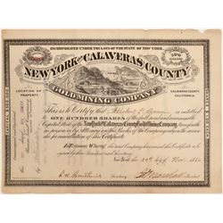 New York and Calaveras County Gold Mining Company Stock  105907
