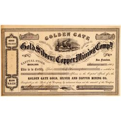 Golden Gate Gold, Silver & Copper Mining Co. Stock Certificate  106972