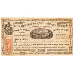 Baron Rothschild Gold, Silver, & Copper Mining Co. Stock Certificate  101510