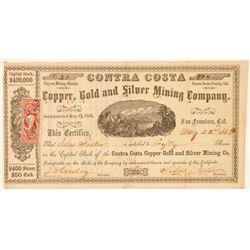 Contra Costa Copper, Gold & Silver Mining Co. Stock Certificate  101509