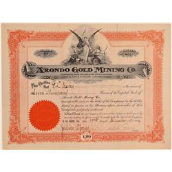 Arondo Gold Mining Co. Stock Certificate  106699