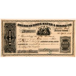 American River Water & Mining Co. Stock Certificate  107287