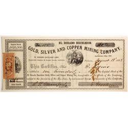 El Dorado Excelsior Gold, Silver and Copper Mining Company Stock  90475