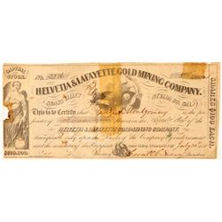Helvetia & Lafayette Gold Mining Co. Stock Certificate  100905