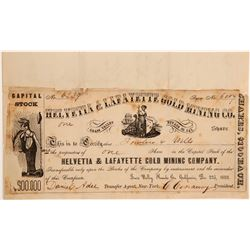 Helvetia & Lafayette Gold Mining Co. Stock Certificate / Letter  107424