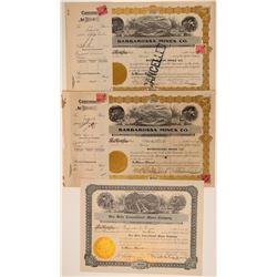 Three California Desert Mining Stock Certificates incl Hart  106673