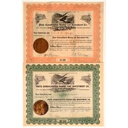 Piute Consolidated Mining & Investment Co. Stock Certificate Pair  106700