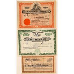Three Inyo County Mining Stock Certificates  106698