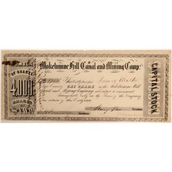 Mokelumne Hill Canal & Mining Company Stock Certificate, 1853  105909
