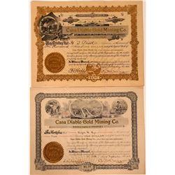 Casa Diablo Gold Mining Company Stock Certificates  107544