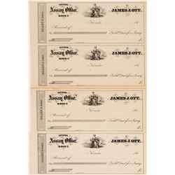 Four Unissued James J Ott Assay Office Receipt (Check Format)  108456