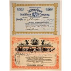 Two Picacho, San Diego Co. Mining Stock Certificates  106677