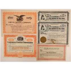 Plumas County Mining Stock Certificates (5 items) - Including a Certificate Number 1  105803