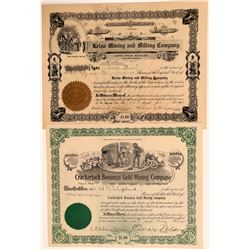 Two Different San Bernardino Mojave Mining Stock Certificates  106708