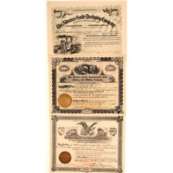 Three Different San Diego Mining Stock Certificates  106713