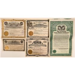 Sierra and Placer County Mining Stock Certificates (5)  105899