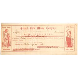 Central Gold Mining Company Stock - Very Rare  90468